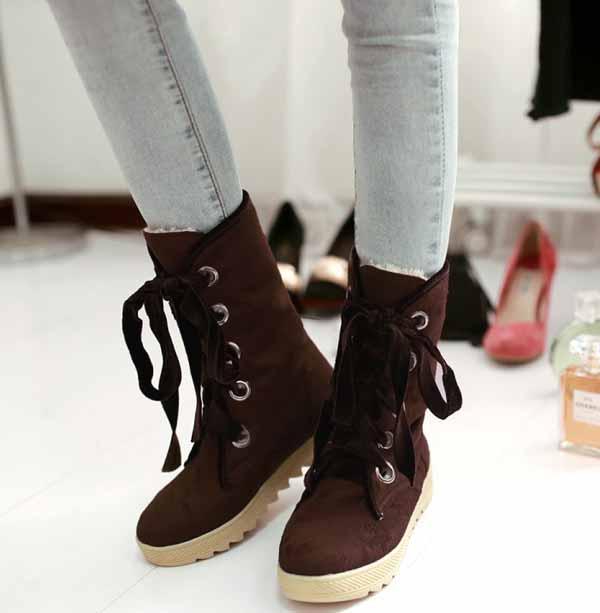 รองเท้าบูทส้นเตี้ย กันหนาวแฟชั่นเกาหลีด้านในบุขนนุ่มเท้า นำเข้า ไซส์34ถึง39 สีน้ำตาล - พรีออเดอร์RB2265 ราคา1650บาท
