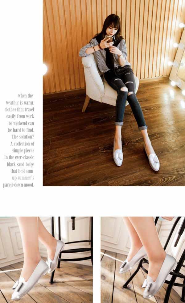 รองเท้าเพื่อสุขภาพ แฟชั่นเกาหลีส้นเตี้ยแต้งโบว์และกลิ้ตเตอร์หรู นำเข้า ไซส์33ถึง43 - พรีออเดอร์RB2268 ราคา1550บาท