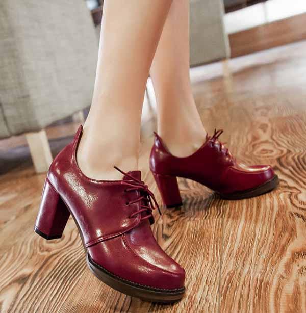 รองเท้าส้นสูง วินเทจผู้หญิงแฟชั่นเกาหลีสไตล์ใหม่เหมาะกับเทรนด์ นำเข้า ไซส์34ถึง43 สีแดง - พรีออเดอร์RB2273 ราคา1550บาท
