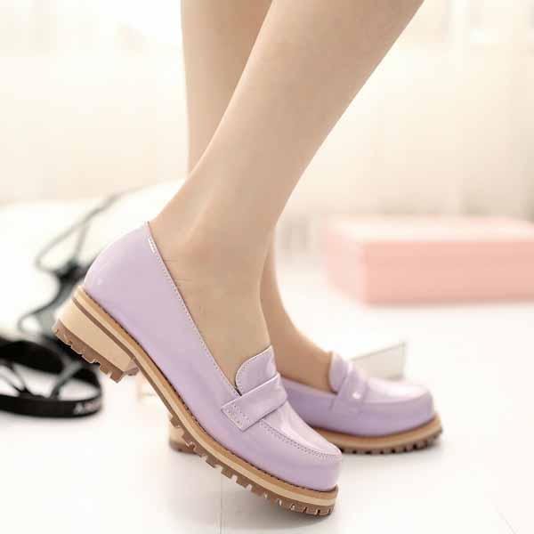 รองเท้าสวมส้นเตี้ย แฟชั่นเกาหลีหนังแก้วน่ารักแคชชวล นำเข้า ไซส์34ถึง43 สีม่วง - พรีออเดอร์RB2274 ราคา1600บาท