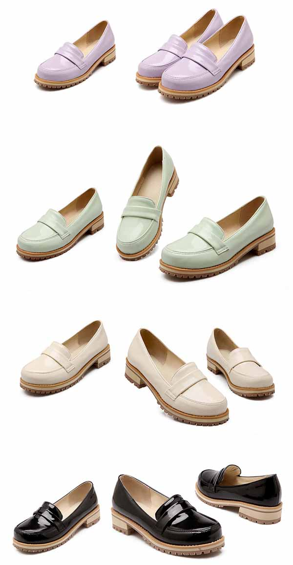 รองเท้าสวมส้นเตี้ย แฟชั่นเกาหลีหนังแก้วน่ารักแคชชวล นำเข้า ไซส์34ถึง43 - พรีออเดอร์RB2274 ราคา1600บาท