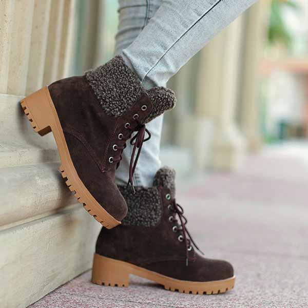 รองเท้าบูทหุ้มข้อ กันหนาวแฟชั่นเกาหลีส้นเตี้ยบุขนรุ่นใหม่ นำเข้า ไซส์34ถึง43 สีน้ำตาล - พรีออเดอร์RB22675 ราคา1750บาท