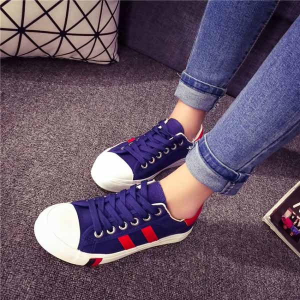 รองเท้าผ้าใบส้นหนา แฟชั่นเกาหลีผู้หญิงวินเทจสุดเท่ใหม่ล่าสุด นำเข้า ไซส์35ถึง39 สีน้ำเงิน - พรีออเดอร์RB2279 ราคา1350บาท