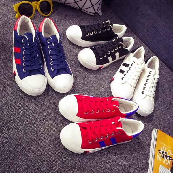 รองเท้าผ้าใบส้นหนา แฟชั่นเกาหลีผู้หญิงวินเทจสุดเท่ใหม่ล่าสุด นำเข้า ไซส์35ถึง39 - พรีออเดอร์RB2279 ราคา1350บาท