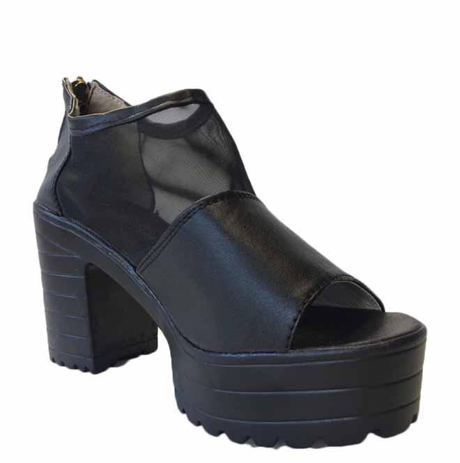 รองเท้าส้นตึก แฟชั่นเกาหลีเปิดหน้าเท้าหนังส้นเตารีดซิปหลังรุ่นใหม่ นำเข้าไซส์35 สีดำ - พร้อมส่งRB2280 ลดราคาถูก