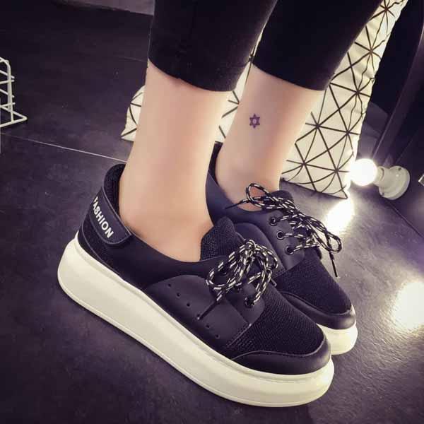 รองเท้าผ้าใบส้นหนา แฟชั่นเกาหลีแนวผู้หญิงเทรนด์ผ้าใบส้นสูง นำเข้า ไซส์35ถึง39 สีดำ - พรีออเดอร์RB2287 ราคา1450บาท
