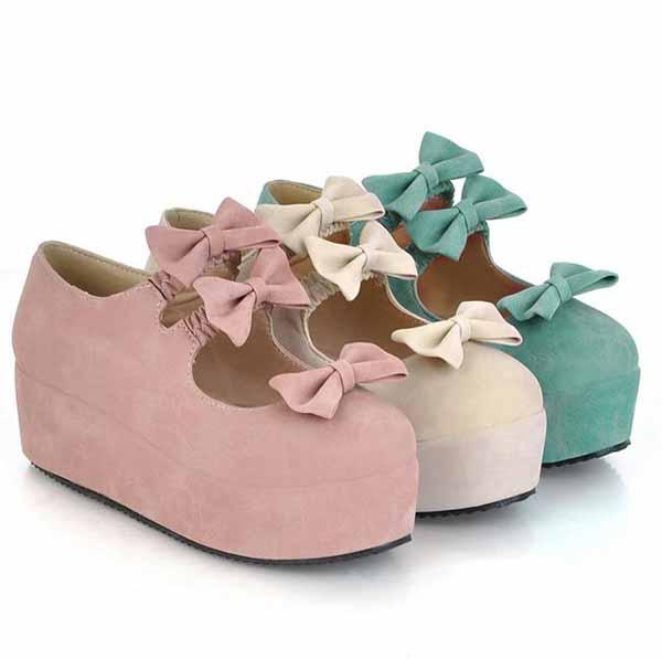 รองเท้าส้นเตารีด แฟชั่นเกาหลีแต่งโบว์น่ารักคิกขุรุ่นใหม่ นำเข้าไซส์34ถึง39 - พรีออเดอร์RB2292 ราคา1300บาท