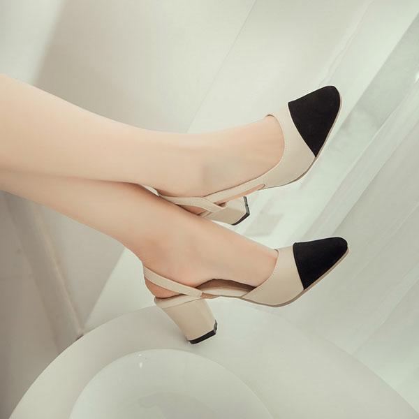 รองเท้าส้นสูง แฟชั่นเกาหลีหัวแหลมมีสายรัดส้นเท้าสวยใหม่ล่าสุด นำเข้า ไซส์33ถึง43 - พรีออเดอร์RB2295 ราคา1750บาท