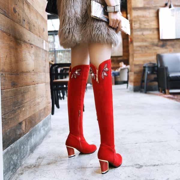 รองเท้าบูทยาว หนังกลับแท้แฟชั่นเกาหลีแต่งเพชรหรูหราใหม่ นำเข้า ไซส์34ถึง43 - พรีออเดอร์RB2299 ราคา2450บาท