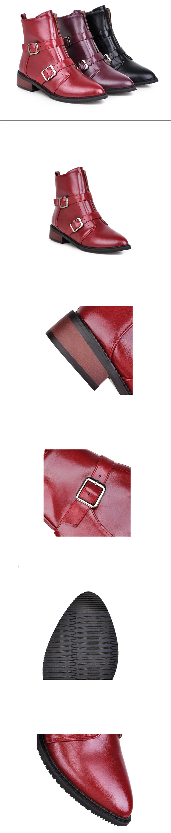 รองเท้าบูทสั้น หุ้มข้อแฟชั่นเกาหลีแบบหนังแต่งหัวเข็มขัดอินเทรนด์ นำเข้า ไซส์33ถึง43 - พรีออเดอร์RB2305 ราคา2200บาท