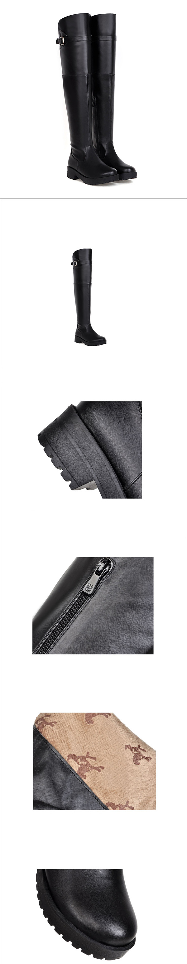 รองเท้าบูทยาว หนังมีส้นสวยแฟชั่นเกาหลีพื้นหยักใหม่ล่าสุด นำเข้า ไซส์33ถึง43 สีดำ - พรีออเดอร์RB2310 ราคา1900บาท