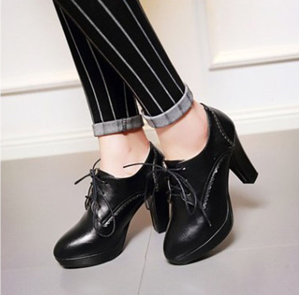 รองเท้าส้นสูง แฟชั่นเกาหลีหัวแหลมหุ้มส้นเท้ามีเชือกผูก นำเข้า ไซส์33ถึง44 สีดำ - พรีออเดอร์RB2327 ราคา1950บาท