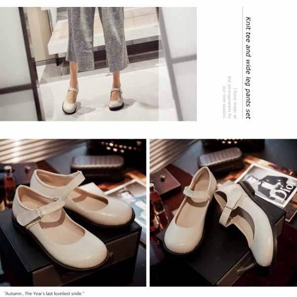 รองเท้าส้นเตี้ย เพื่อสุขภาพเท้าที่ดีแฟชั่นเกาหลีคัทชูหนังใหม่ นำเข้าไซส์33ถึง43 สีครีม - พรีออเดอร์RB2330 ราคา1800บาท