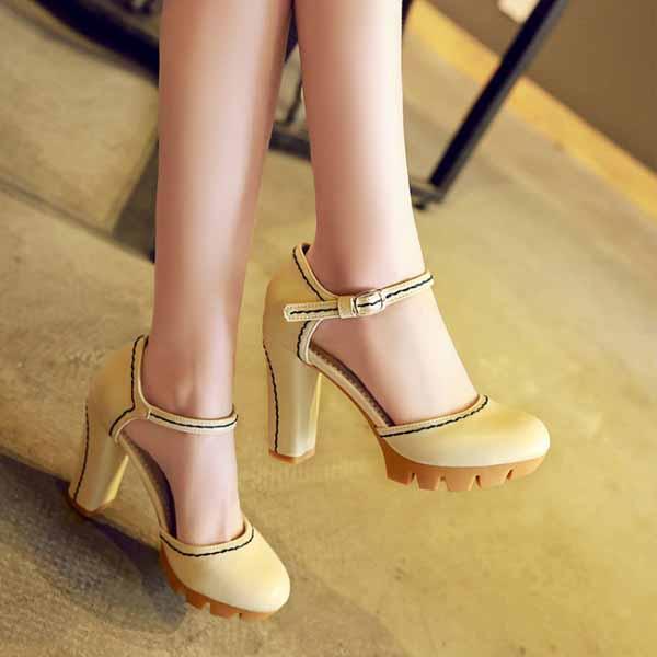 รองเท้าส้นสูง แฟชั่นเกาหลีหุ้มส้นพื้นหยักหนาเสริมหน้าเท้า นำเข้า ไซส์33ถึง43 สีครีม - พรีออเดอร์RB2331 ราคา1950บาท