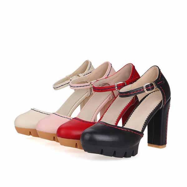 รองเท้าส้นสูง แฟชั่นเกาหลีหุ้มส้นพื้นหยักหนาเสริมหน้าเท้า นำเข้า ไซส์33ถึง43 - พรีออเดอร์RB2331 ราคา1950บาท