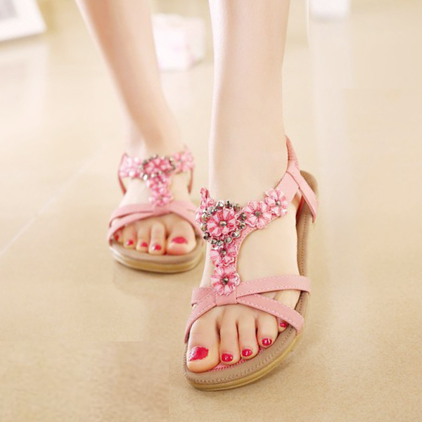 รองเท้าแตะหนังแท้ ส้นเตี้ยดอกไม้คริสตัลมีสายรัดส้นแฟชั่นเกาหลี นำเข้า ไซส์35ถึง41 - พรีออเดอร์RB2336 ราคา1880บาท
