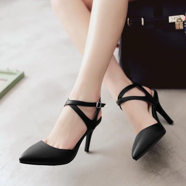 รองเท้าส้นสูง แฟชั่นเกาหลีหัวแหลมสายไขว้รัดข้อเท้า นำเข้า ไซส์33ถึง43 สีดำ - พรีออเดอร์RB2337 ราคา1850บาท