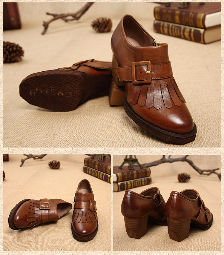 รองเท้าหนังแท้แฮนเมดวินเทจส้นสูงแต่งริ้วหนังจากเกาหลีแท้ นำเข้า 34-40 สีน้ำตาล พรีออเดอร์RB2362 ราคา4500บาท