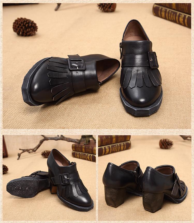 รองเท้าหนังแท้แฮนเมดวินเทจส้นสูงแต่งริ้วหนังจากเกาหลีแท้ นำเข้า 34-40 สีดำ พรีออเดอร์RB2362 ราคา4500บาท
