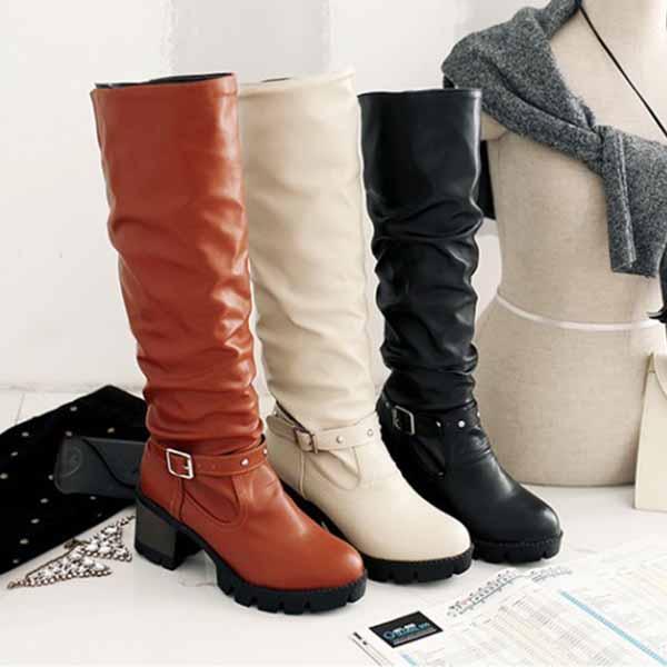 รองเท้าบูทยาว แฟชั่นเกาหลีส้นเตี้ยแบบหนังมีไซส์ใหญ่ นำเข้า ไซส์34ถึง43 - พรีออเดอร์RB2371 ราคา1950บาท