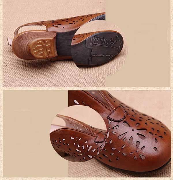 รองเท้าหนังแท้เพื่อสุขภาพ แฟชั่นเกาหลีมีส้นสายรัดหลังเท้าหนังฉลุ นำเข้า 34-40 สีน้ำตาล - พรีออเดอร์RB2380 ราคา3900บาท