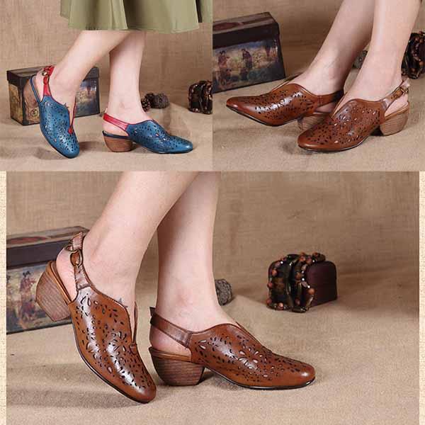 รองเท้าหนังแท้เพื่อสุขภาพ แฟชั่นเกาหลีมีส้นสายรัดหลังเท้าหนังฉลุ นำเข้า 34-40 พรีออเดอร์RB2380 ราคา3900บาท