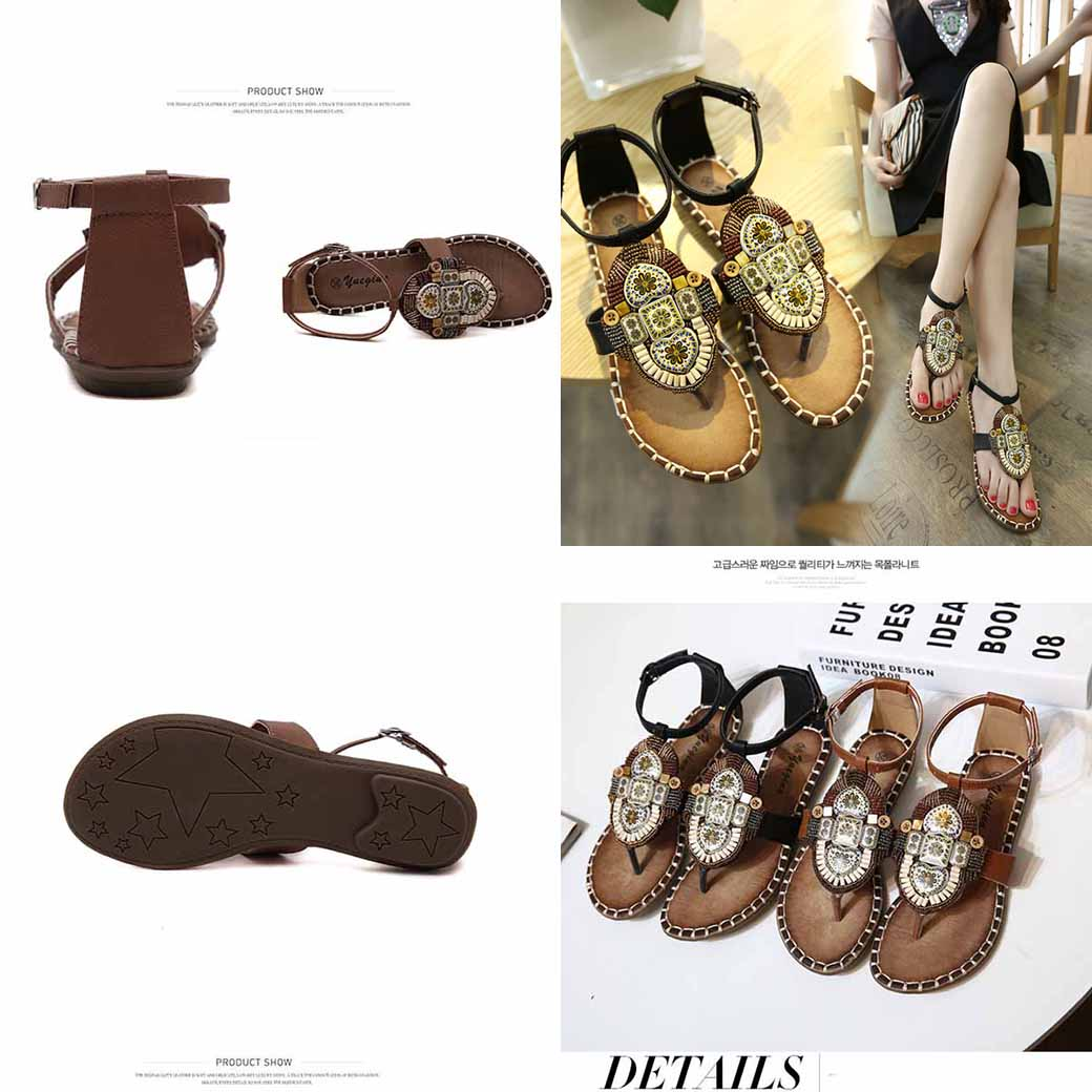 รองเท้าแตะรัดส้น ส้นเตี้ยแต่งลูกปัดแบบหนีบแฟชั่นเกาหลี นำเข้า ไซส์35ถึง40 - พรีออเดอร์RB2381 ราคา1850บาท