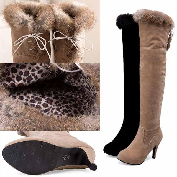 รองเท้าบูทยาว ปิดเข่าแฟชั่นเกาหลีบุขนเฟอร์กันหนาวส้นสูงใหม่ นำเข้า ไซส์34ถึง43- พรีออเดอร์RB2412 ราคา2300บาท