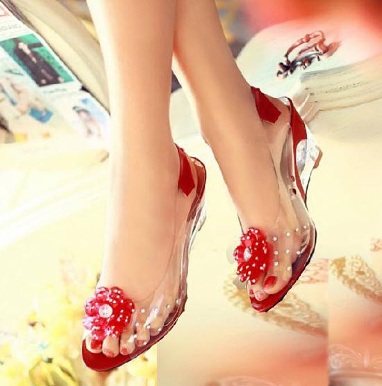รองเท้าแก้ว ส้นสูงแฟชั่นเกาหลีสวยหรูหราแต่งดอกไม้แก้ว นำเข้า