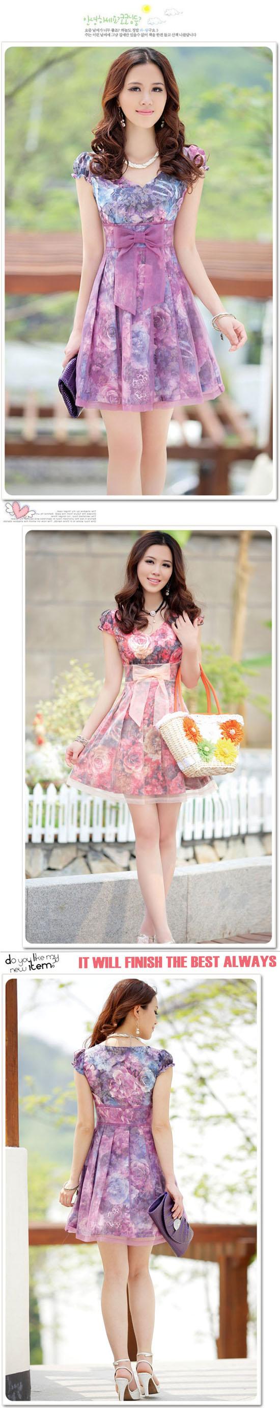 ชุดราตรี แฟชั่นเกาหลีไปงานแต่งสวยลายดอกไม้เทรนหวานไซส์Lถึง2XLสีม่วง - พร้อมส่งSJ1139 ราคา1188บาท