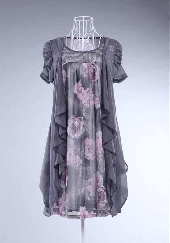 ชุดราตรี แฟชั่นเกาหลี สวยผ้าชีฟองลายดอกไม้พร้อมเข็มขัดหรู ไซส์M/L/XL/XXL พรีออเดอร์SJ1257 ราคา1150บาท