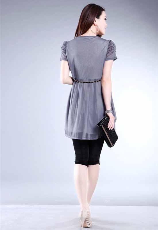 ชุดราตรี แฟชั่นเกาหลี หรูหรา Summer Dress นำเข้า สีเทา - พร้อมส่ง