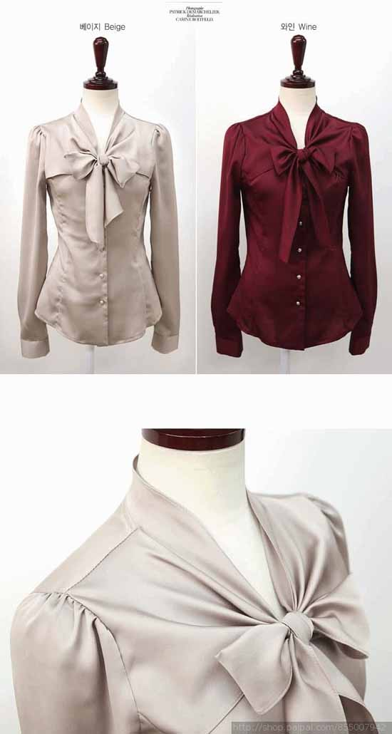 เสื้อเชิ้ตแขนยาวผู้หญิง แฟชั่นเกาหลี Bow Blouse สีเบจ ไซส์L - พร้อมส่ง