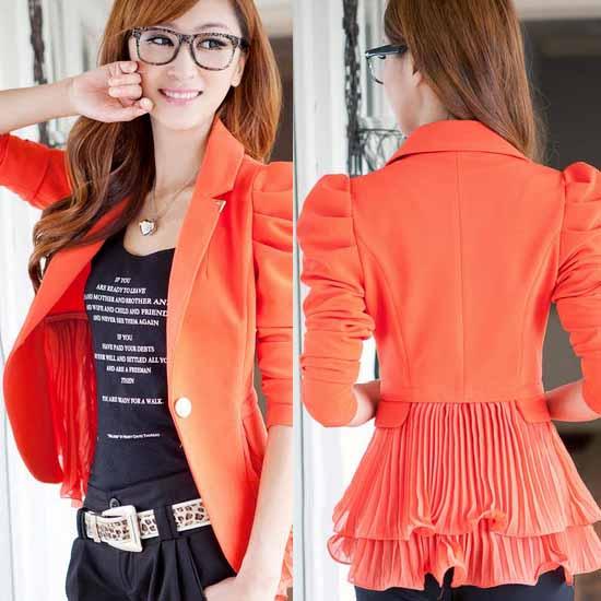 เสื้อสูทผู้หญิง แฟชั่นเกาหลีสวยสูททำงานระบายชีฟอง นำเข้า สีส้ม - พร้อมส่งSJ1296 ราคา1100บาท