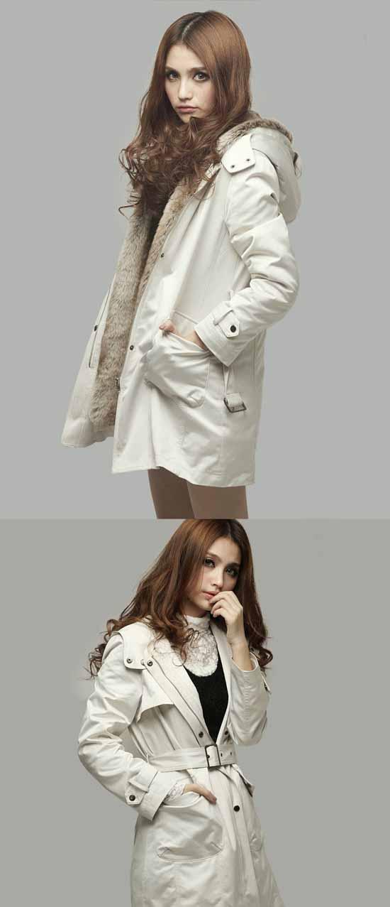 เสื้อโค้ท แฟชั่นเกาหลีกันหนาวตัวยาวมีฮู้ดแต่งเฟอร์สวยหรู นำเข้า ไซส์S-XXXL สีเบจ - พรีออเดอร์SJ1325 ราคา2100บาท
