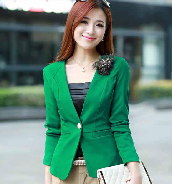 เสื้อสูท แฟชั่นเกาหลีคอวีสวย นำเข้า สีเขียว