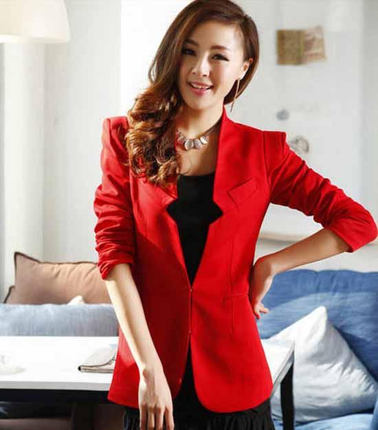 เสื้อสูททำงาน แฟชั่นเกาหลี นำเข้า สีแดง