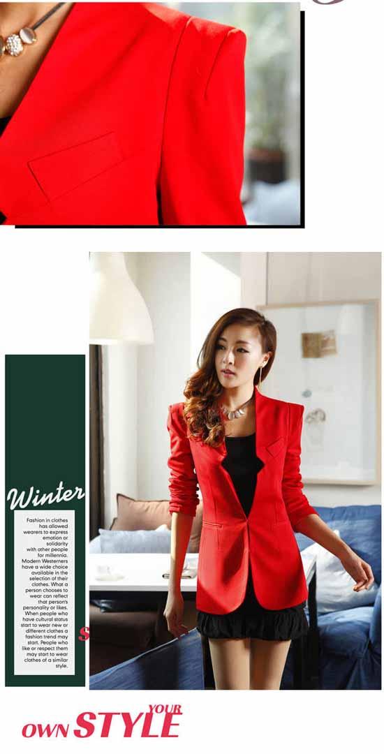 เสื้อสูททำงาน แฟชั่นเกาหลี สีแดง - พรีออเดอร์