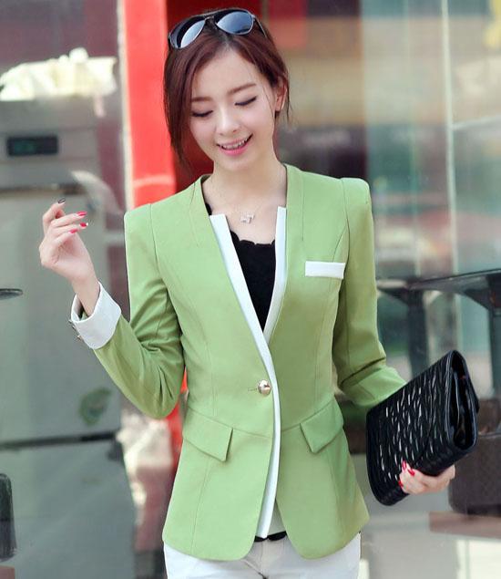 เสื้อสูท แฟชั่นเกาหลีสีหวานสวยคอวีใหม่น่ารัก นำเข้า ไซส์SถึงXL - พรีออเดอร์