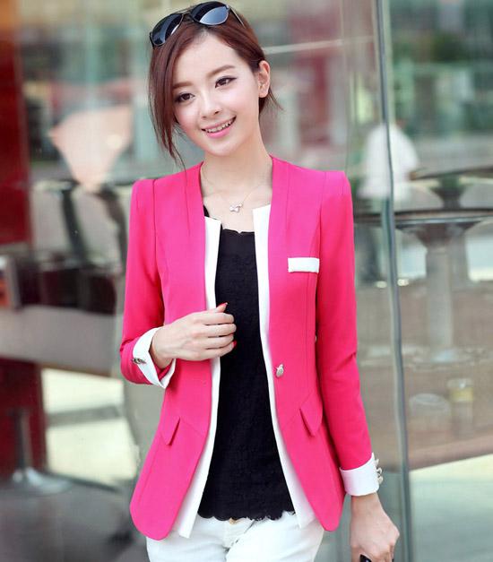 เสื้อสูท แฟชั่นเกาหลีสีหวานสวยคอวีใหม่น่ารัก นำเข้า ไซส์SถึงXL