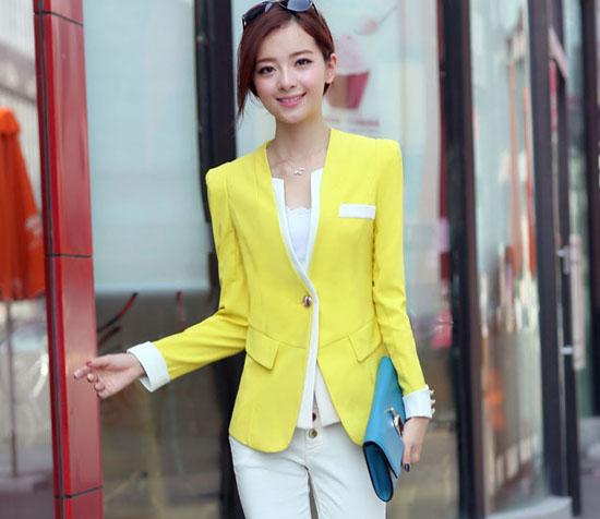 เสื้อสูท แฟชั่นเกาหลีสีหวานสวยคอวีใหม่น่ารัก