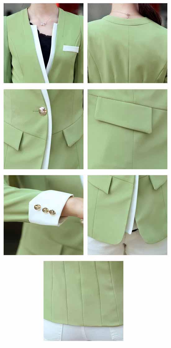 เสื้อสูท แฟชั่นเกาหลีสีหวานสวยคอวี