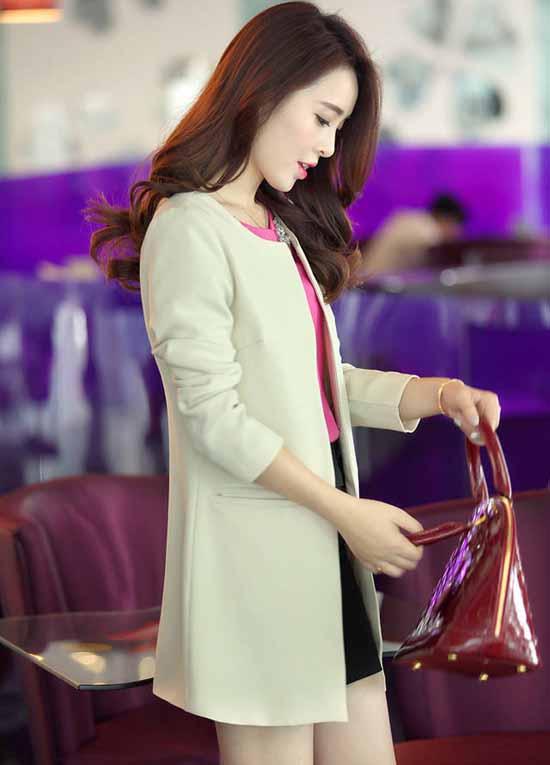 เสื้อสูท แฟชั่นเกาหลีตัวยาวคอกลมสวยเทรนด์หรู นำเข้า ไซส์SถึงXXL