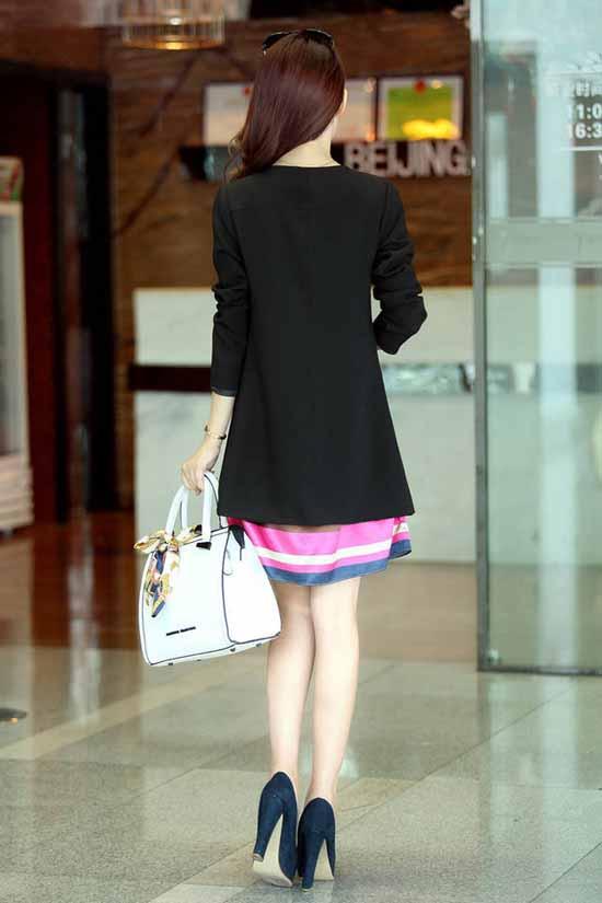 เสื้อสูท แฟชั่นเกาหลีตัวยาวคอกลมสวยเทรนด์หรู นำเข้า