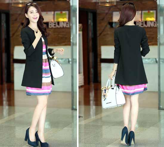 เสื้อสูท แฟชั่นเกาหลีตัวยาวคอกลมสวยเทรนด์เสื้อกันหนาวโค้ทหรู
