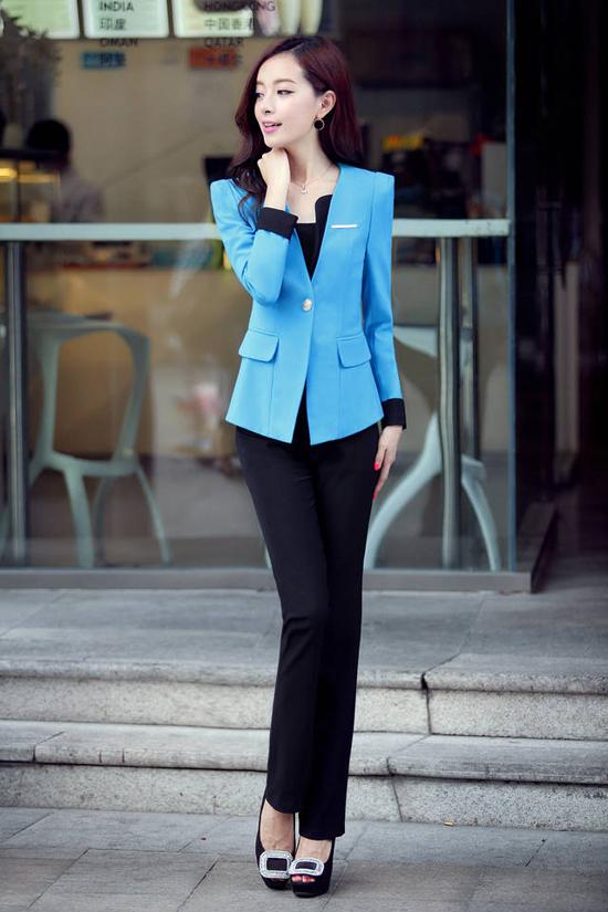 ชุดสูททำงาน แฟชั่นเกาหลีผู้หญิงกางเกงสวย3ชิ้นหรู นำเข้า