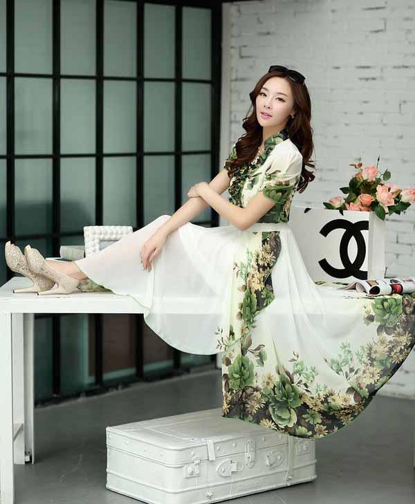 ชุดยาวหรูหรา ลายดอกไม้ชีฟองแฟชั่นเกาหลี ไซส์Sถึง2XL