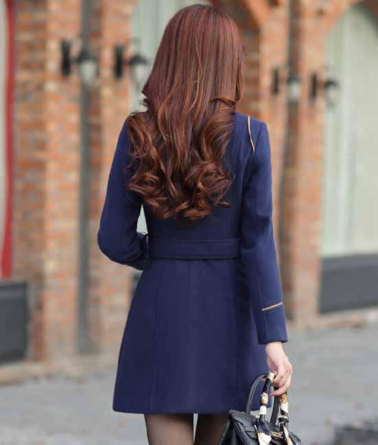 เสื้อโค้ท กันหนาวผ้าวูลหนาแฟชั่นเกาหลีตัวยาวดีไซน์แจ็คเก็ต นำเข้าไซส์Mถึง3XLสีน้ำเงิน - พรีออเดอร์SJ1383 ราคา1890บาท
