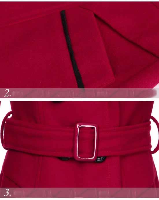 เสื้อโค้ท กันหนาวผ้าวูลหนาแฟชั่นเกาหลีตัวยาวดีไซน์แจ็คเก็ต นำเข้าไซส์Mถึง3XLสีแดง - พรีออเดอร์SJ1383 ราคา1890บาท