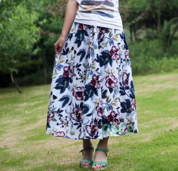 กระโปรงยาว แฟชั่นเกาหลีผ้าคอตตอนลินินแนววินเทจเอวยืดมีกระเป๋า นำเข้า ลายดอกไม้สีขาว - พร้อมส่งBD0124 ราคา1150บาท
